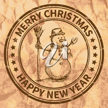 Christmas and New Year stamp with the snowman