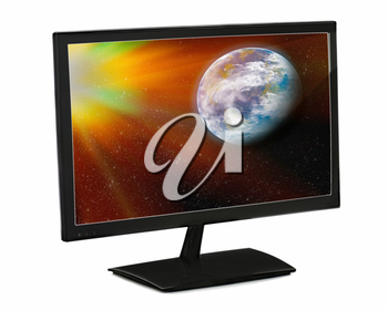 Black lcd monitor isolated on white background.Elements of this image furnished by NASA.