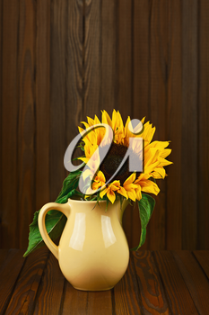 Still life with sunflower in vase on wooden background. Closeup.