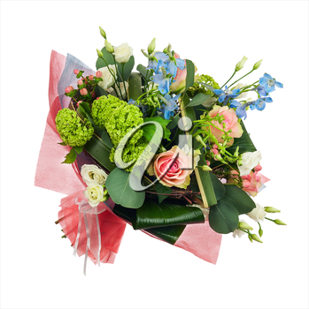 Flower bouquet from multi colored roses, iris and other flowers isolated on white background. Closeup.