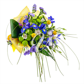 Flower bouquet from roses, green carnation, iris and statice flowers isolated on white background. Closeup.