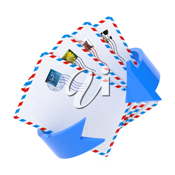 Email Icon with Red Arrow and Some of Letters Over White.