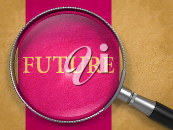 Future through Magnifying Glass on Old Paper with Lilac Vertical Line Background. 3D Render.