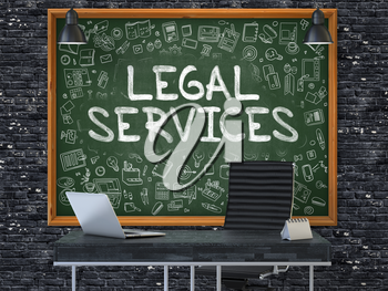 Green Chalkboard on the Dark Brick Wall in the Interior of a Modern Office with Hand Drawn Legal Services. Business Concept with Doodle Style Elements. 3D.