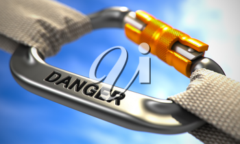 Danger on Chrome Carabine with White Ropes. Focus on the Carabine. 3D Render.