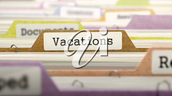 Vacations Concept. Colored Document Folders Sorted for Catalog. Closeup View. Selective Focus. 3D Render.