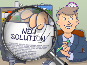 New Solution. Smiling Businessman in Office Workplace Showing Text on Paper through Magnifier. Colored Doodle Illustration.
