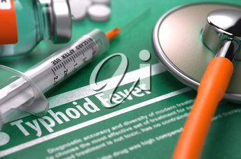 Diagnosis - Typhoid Fever. Medical Concept on Green Background with Blurred Text and Composition of Pills, Syringe and Stethoscope. Selective Focus. 3D Render.