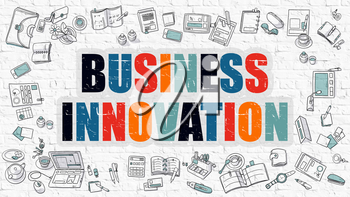 Business Innovation Concept. Modern Line Style Illustration. Multicolor Business Innovation Drawn on White Brick Wall. Doodle Icons. Doodle Design Style of Business Innovation Concept.