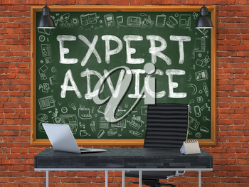 Expert Advice - Handwritten Inscription by Chalk on Green Chalkboard with Doodle Icons Around. Business Concept in the Interior of a Modern Office on the Red Brick Wall Background. 3D.