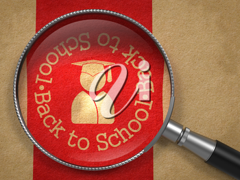 Magnifying Glass with Back to School  Icon - Human Silhouette in Grad Hat on Old Paper with Red Vertical Line Background. Education Concept.
