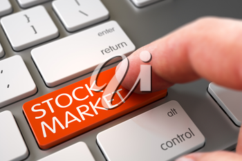 Hand of Young Man on Stock Market Orange Key. Finger Pushing Stock Market Button on Modern Laptop Keyboard. Stock Market Concept - Computer Keyboard with Key. Hand Touching Stock Market Key. 3D.