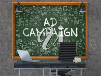 Green Chalkboard with the Text Ad Campaign Hangs on the Dark Old Concrete Wall in the Interior of a Modern Office. Illustration with Doodle Style Elements. 3D.