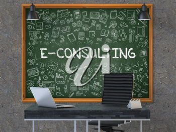 E-Consulting - Handwritten Inscription by Chalk on Green Chalkboard with Doodle Icons Around. Business Concept in the Interior of a Modern Office on the Dark Old Concrete Wall Background. 3D.