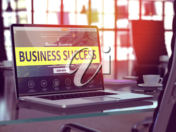 Business Success Concept. Closeup Landing Page on Laptop Screen  on background of Comfortable Working Place in Modern Office. Blurred, Toned Image. 3D Render.