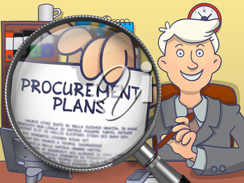Officeman in Office Workplace Holding a Paper with Text Procurement Plans. Closeup View through Magnifying Glass. Colored Modern Line Illustration in Doodle Style.
