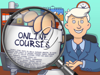Online Courses. Officeman Holds Out a Concept on Paper through Magnifier. Multicolor Modern Line Illustration in Doodle Style.