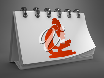 Red Microscope Icon on White Desktop Calendar Isolated on Gray Background. Science Concept.