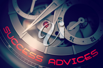 Automatic Pocket Watch with Success Advices on Face, Symbol of Time. Success Advices on Old Wrist Watch Detail, Chronograph Close Up. Business Concept with Glow Effect and Lens Flare. 3D Rendering.