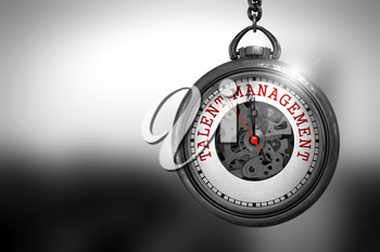 Business Concept: Pocket Watch with Talent Management - Red Text on it Face. Vintage Pocket Clock with Talent Management Text on the Face. 3D Rendering.