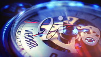 Webinar. on Pocket Watch Face with Close View of Watch Mechanism. Time Concept. Lens Flare Effect. 3D.