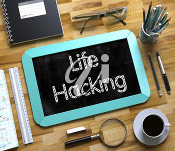 Life Hacking - Mint Small Chalkboard with Hand Drawn Text and Stationery on Office Desk. Top View. Life Hacking - Text on Small Chalkboard.3d Rendering.