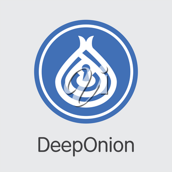 Deeponion - Digital Currency Concept. Colored Vector Icon Logo and Name of Blockchain Cryptocurrency on Grey Background. Vector Coin Symbol for Exchange ONION.