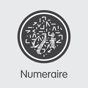 Numeraire. Crypto Currency. NMR Pictogram Isolated on Grey Background. Stock Vector Colored Logo.