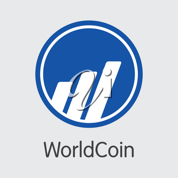 Worldcoin - Crypto Currency Web Icon. Vector Symbol of Blockchain Cryptocurrency Icon on Grey Background. Vector Graphic Symbol WDC.