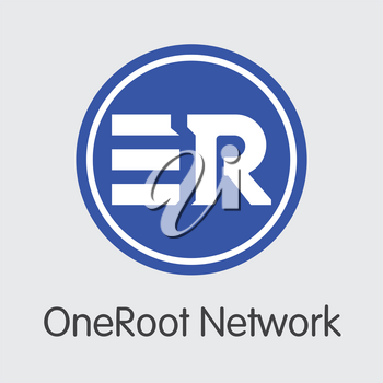 RNT - Oneroot Network. The Icon or Emblem of Money, Market Emblem, ICOs Coins and Tokens Icon.