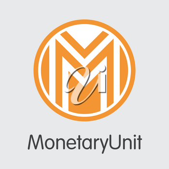 Monetaryunit Vector Pictogram for Internet Money. Crypto Currency Icon of MUE and Logo for using in Web Projects or Mobile Applications.