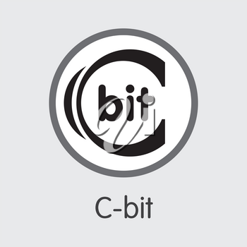 C-Bit - Logo of Fintech Industry, Finance Digitization. Modern Coin Illustration. Premium Quality Coin Pictogram of XCT. Simple Vector Trading Sign of Design for Web Graphics.