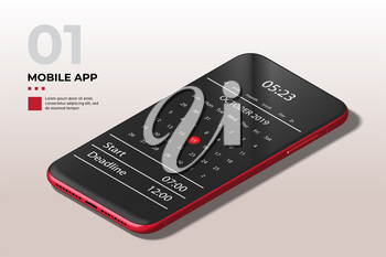 Realistic High Detailed Red Smartphone. Easy Place Image Into Screen Smartphone with Shiny Layer.