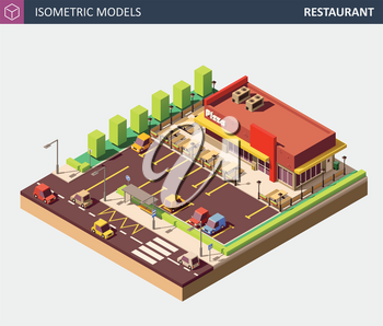 Restaurant or Pizzerie Building with Sale Sign Board. Vector Isometric Illustration.