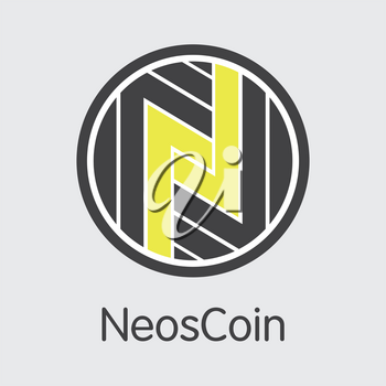 Neoscoin - Cryptographic Currency Concept. Colored Vector Icon Logo and Name of Crypto Currency on Grey Background. Vector Logo for Exchange NEOS.
