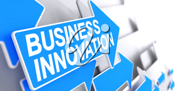 Business Innovation, Label on Blue Cursor. Business Innovation - Blue Arrow with a Label Indicates the Direction of Movement. 3D Render.