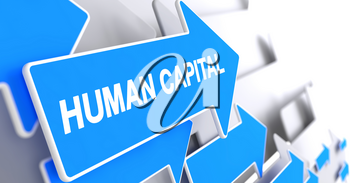 Human Capital, Label on Blue Arrow. Human Capital - Blue Arrow with a Message Indicates the Direction of Movement. 3D Render.