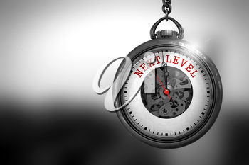 Business Concept: Next Level on Vintage Pocket Watch Face with Close View of Watch Mechanism. Vintage Effect. Watch with Next Level Text on the Face. 3D Rendering.