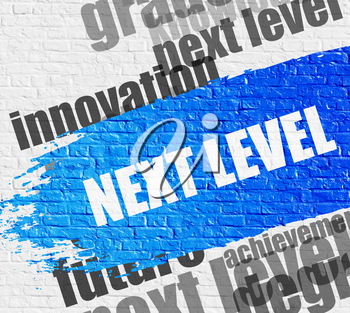 Business Education Concept: Next Level - on the White Brick Wall with Wordcloud Around. Modern Illustration. Next Level Modern Style Illustration on the Blue Brush Stroke.