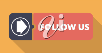 Follow Us Concept in Flat Design with Long Shadows.