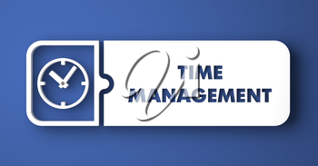 Time Management Concept. White Button on Blue Background in Flat Design Style.