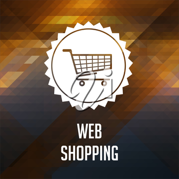 Web Shopping Concept. Retro label design. Hipster background made of triangles, color flow effect.