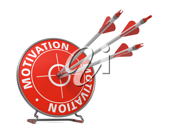 Motivation Concept. Three Arrows Hit in Red Target.