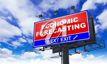 Economic Forecasting - Red Billboard on Sky Background. Business Concept.