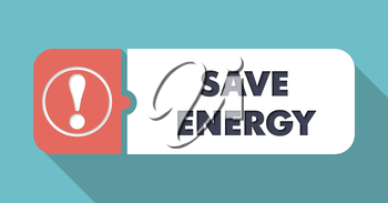 Save Energy Button in Flat Design with Long Shadows on Orange Background.