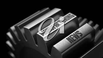 Manufacturing News on the Metal Gears on Black Background.