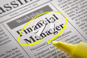Royalty Free Clipart Image of a Financial Manager Help Wanted Ad