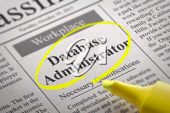 Royalty Free Clipart Image of a Database Administrator Help Wanted Ad