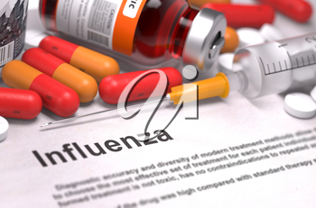 Influenza - Printed Diagnosis with Red Pills, Injections and Syringe. Medical Concept with Selective Focus.