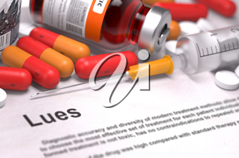 Diagnosis - Lues. Medical Concept with Red Pills, Injections and Syringe. Selective Focus. 3D Render.